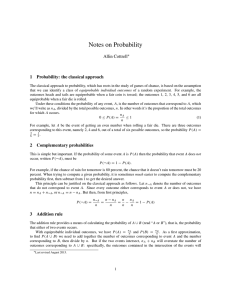 Notes on Probability Allin Cottrell 1 Probability: the classical approach
