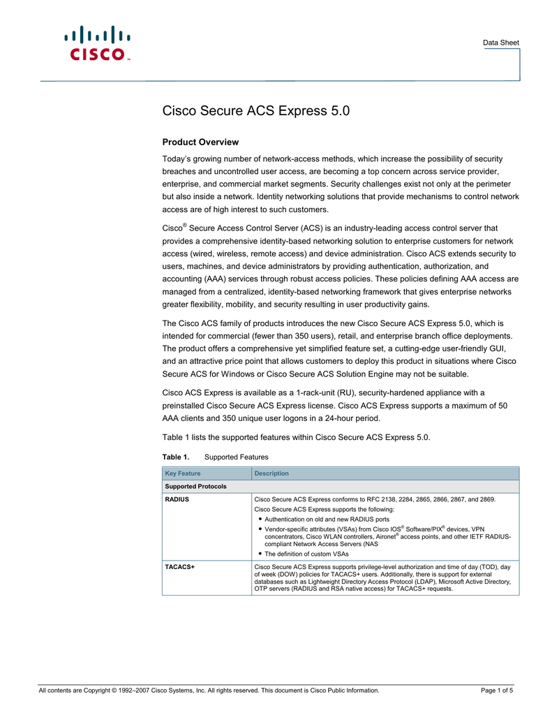 Cisco Secure ACS Express 5.0 Product Overview