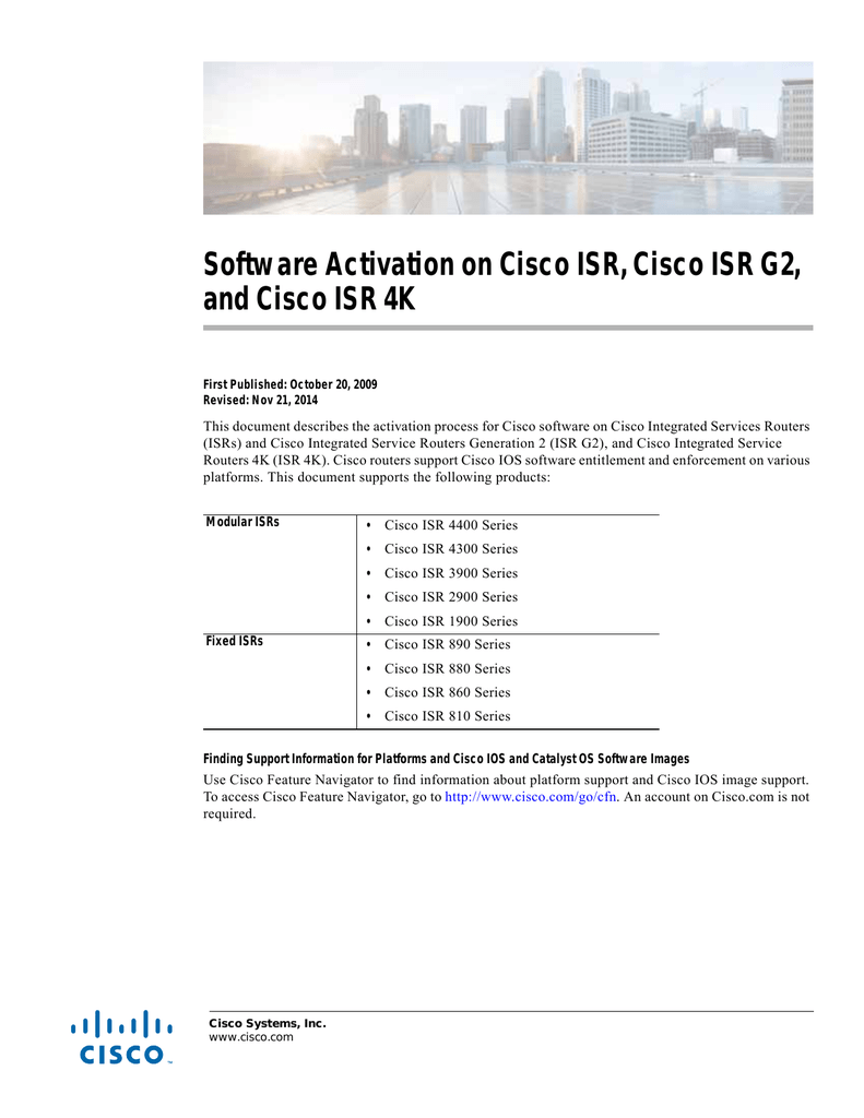 Software Activation on Cisco ISR, Cisco ISR G2,