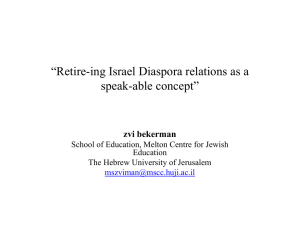 """Retire-ing Israel Diaspora relations as a speak-able concept"" zvi bekerman"