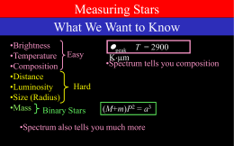 Measuring Stars What We Want to Know l