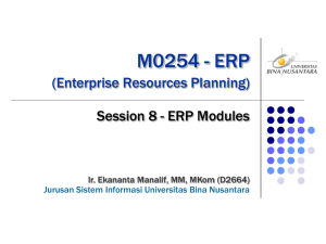 M0254 - ERP (Enterprise Resources Planning) Session 8 - ERP Modules