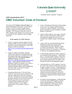 CMG Volunteer Code of Conduct  CMG GardenNotes #012