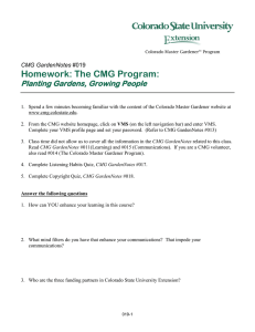 Homework: The CMG Program: Planting Gardens, Growing People  CMG GardenNotes