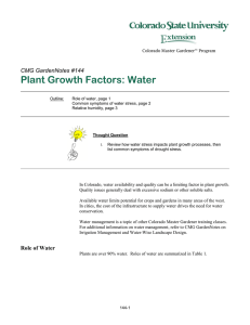 Plant Growth Factors: Water  CMG GardenNotes #144