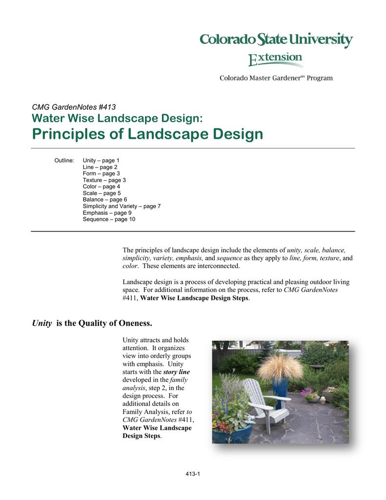 Principles Of Landscape Design Water Wise Landscape Design Cmg