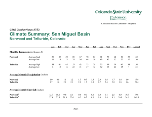 Climate Summary: San Miguel Basin Norwood and Telluride, Colorado  CMG GardenNotes #753