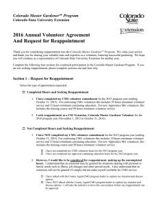 2016 Annual Volunteer Agreement And Request for Reappointment Colorado Master Gardener Program