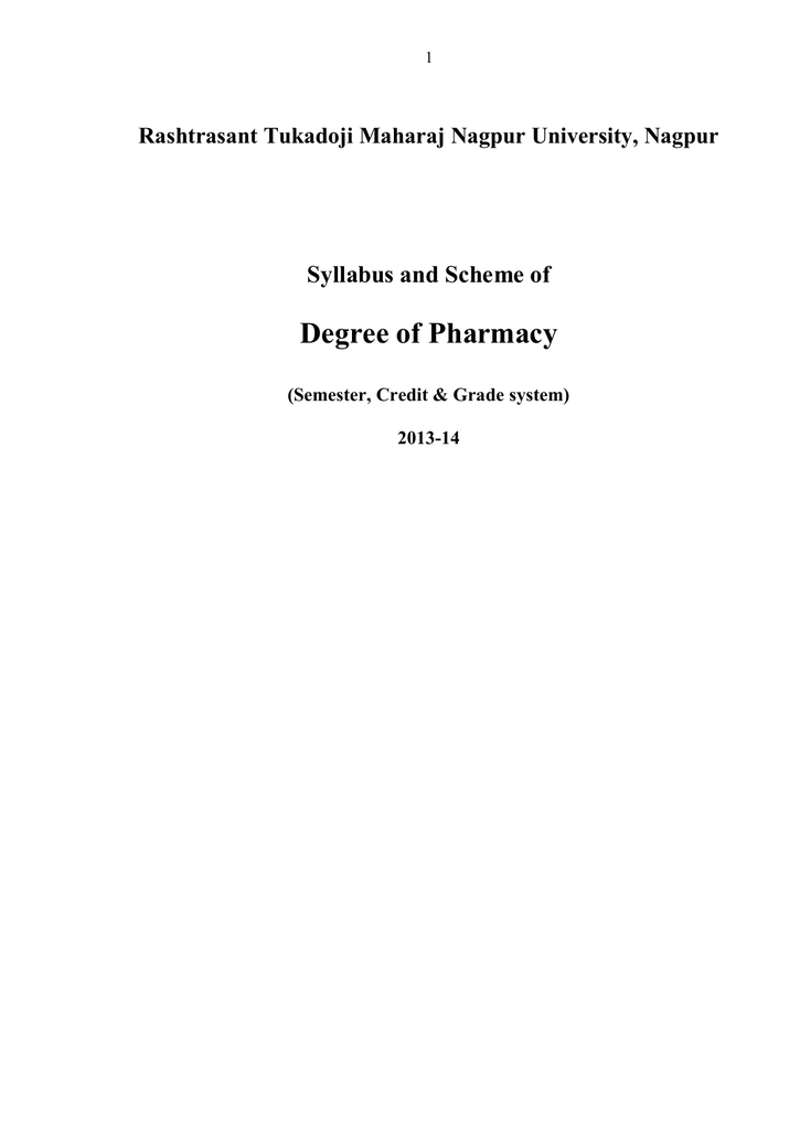 Degree of pharmacy syllabus and scheme of fandeluxe Choice Image