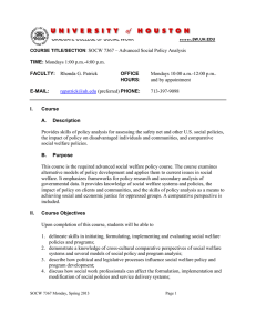 SOCW 7367 – Advanced Social Policy Analysis and by appointment