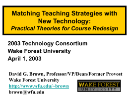 Matching Teaching Strategies with New Technology: Practical Theories for Course Redesign