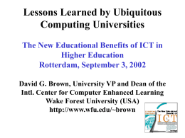Lessons Learned by Ubiquitous Computing Universities Higher Education