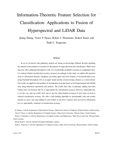 Information-Theoretic Feature Selection for Classification: Applications to Fusion of