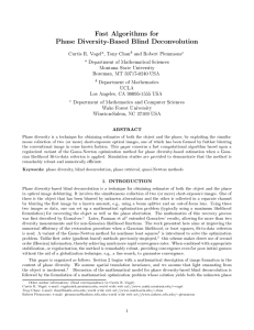 Fast Algorithms for Phase Diversity-Based Blind Deconvolution