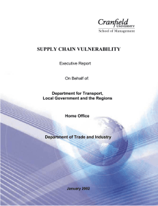 SUPPLY CHAIN VULNERABILITY Executive Report On Behalf of: Department for Transport,