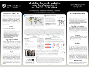 Modeling linguistic variation TechXploration Wake  Forest  University using machine learning, R,