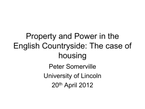 Property and Power in the English Countryside: The case of housing Peter Somerville