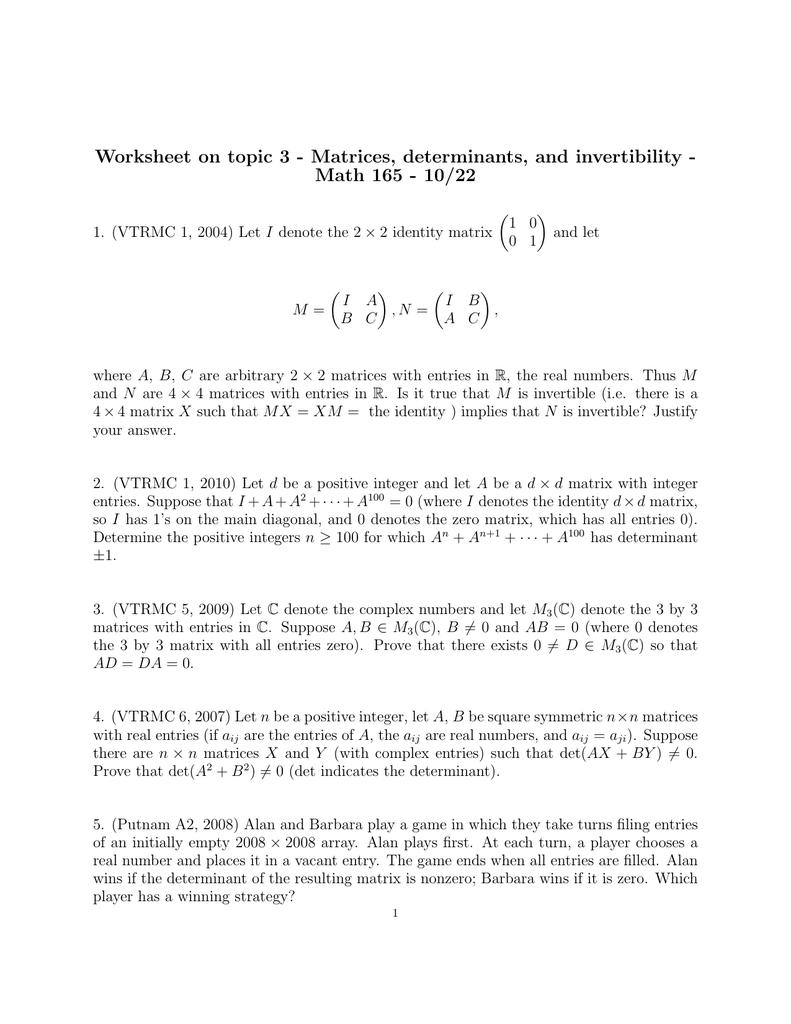 worksheet Matrix Determinant Worksheet worksheet on topic 3 matrices determinants and invertibility