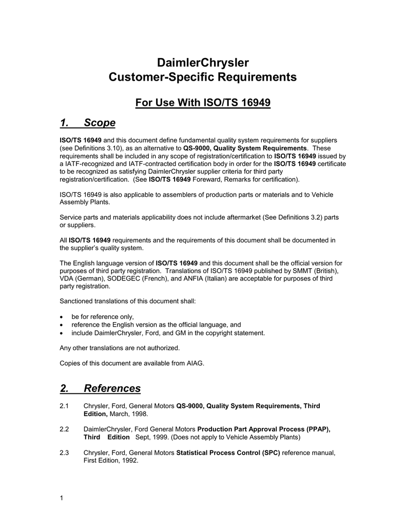 daimlerchrysler customer specific requirements for use with iso ts 16949 rh studylib net APQP Checklist FMEA Manual