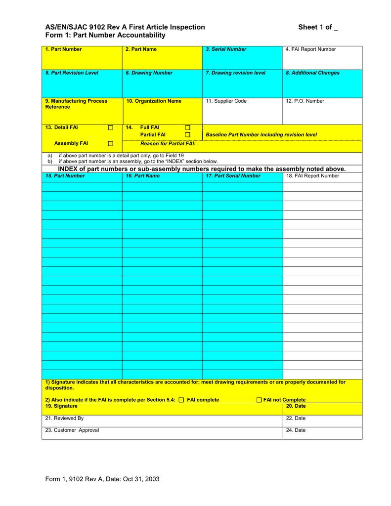 As En Sjac 9102 Rev A First Article Inspection Sheet
