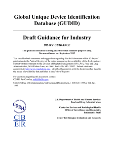 Global Unique Device Identification Database (GUDID) Draft Guidance for Industry
