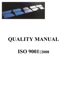 QUALITY MANUAL  ISO 9001: 2008
