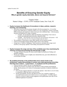 Benefits of Ensuring Gender Equity Virginia Valian