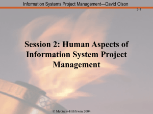 Session 2: Human Aspects of Information System Project Management
