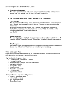 !! How to Prepare an Effective Cover Letter: