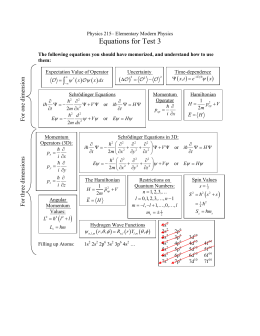 Equations for Test 3