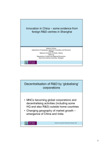 Innovation in China – some evidence from