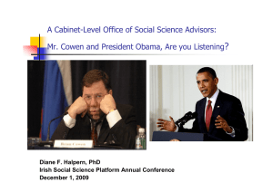 ? A Cabinet-Level Office of Social Science Advisors: Diane F. Halpern, PhD