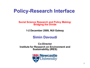 Policy-Research Interface Simin Davoudi