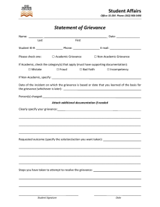 Student Affairs   Statement of Grievance