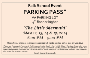 "PARKING PASS  Falk School Event ""The Little Mermaid"""