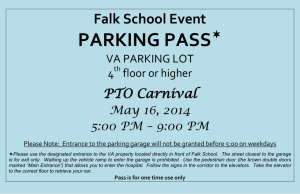 PARKING PASS  Falk School Event PTO Carnival
