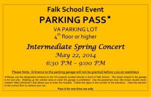 PARKING PASS  Falk School Event Intermediate Spring Concert