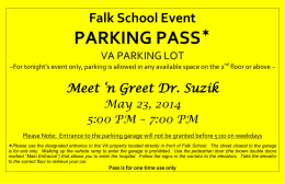 PARKING PASS  Falk School Event Meet 'n Greet Dr. Suzik