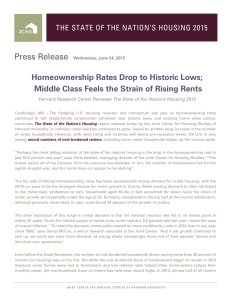 Press Release Homeownership Rates Drop to Historic Lows;