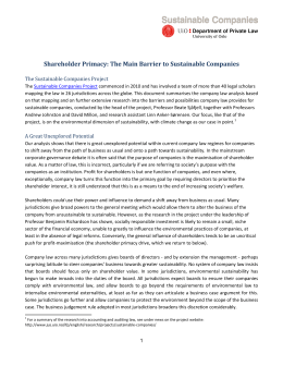 Shareholder Primacy: The Main Barrier to Sustainable Companies