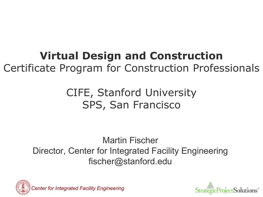Virtual Design And Construction Certificate Program For Construction