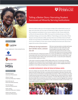 Telling a Better Story: Narrating Student Successes at Minority Serving Institutions