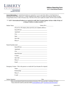 Address Reporting Form  for F-1 International Students