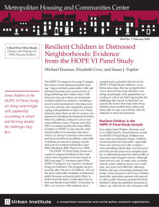 Resilient Children in Distressed Neighborhoods: Evidence from the HOPE VI Panel Study