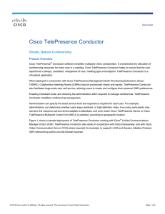 Cisco TelePresence Conductor Simple, Natural Conferencing Product Overview