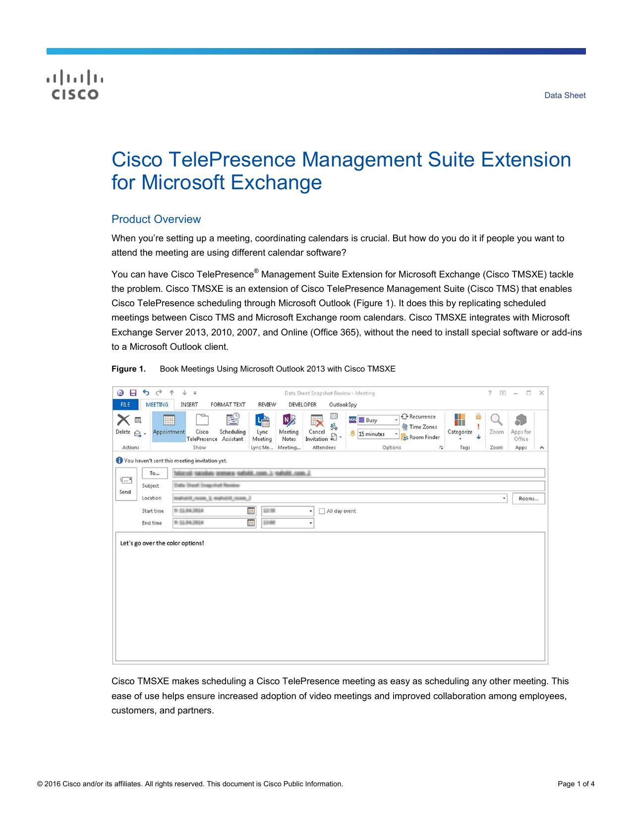 Cisco TelePresence Management Suite Extension for Microsoft