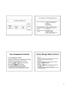 MANAGEMENT AND SYSTEM OBJECTIVES CONTROLS METHODOLOGY