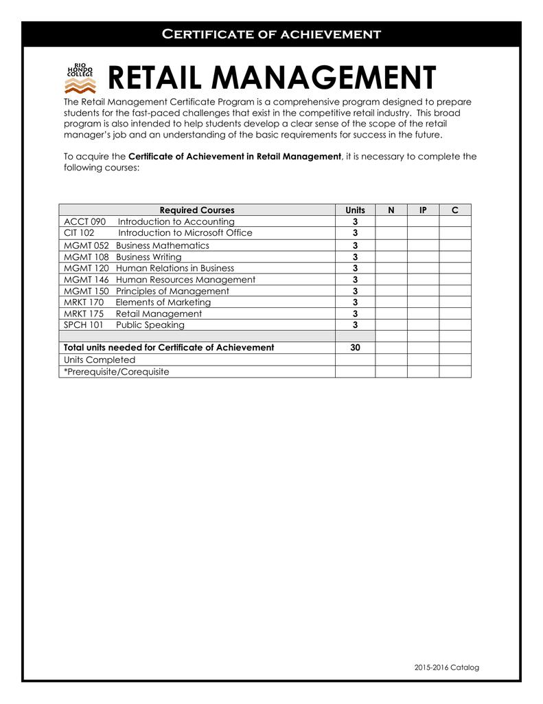 Retail Management Certificate Of Achievement