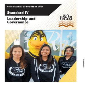 Standard IV Leadership and Governance Accreditation Self Evaluation 2014