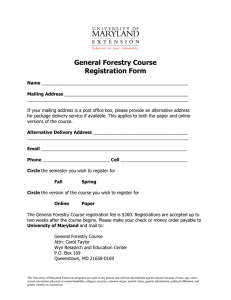 General Forestry Course Registration Form